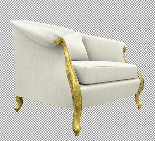 Close up on gold sofa rendering isolated white cloth