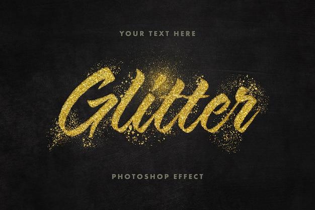Close up on golden glitter text effect template