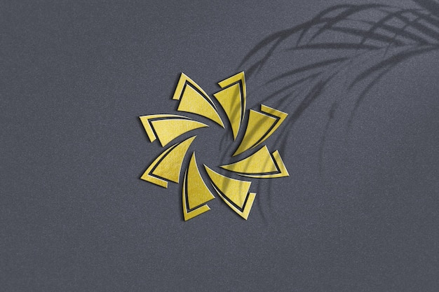 Close up on golden logo mockup design