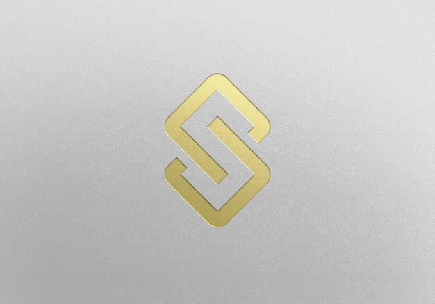 Close up on golden logo mockup design