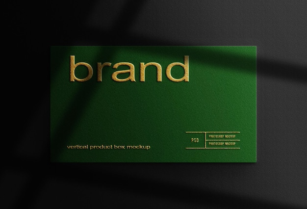 Close up green box mockup with gold embossed