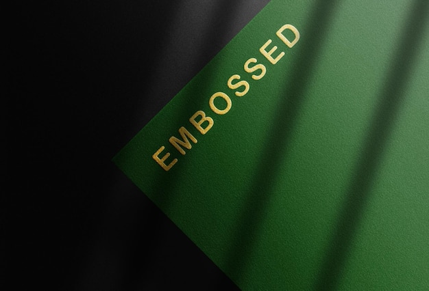 Close up green paper logo mockup design