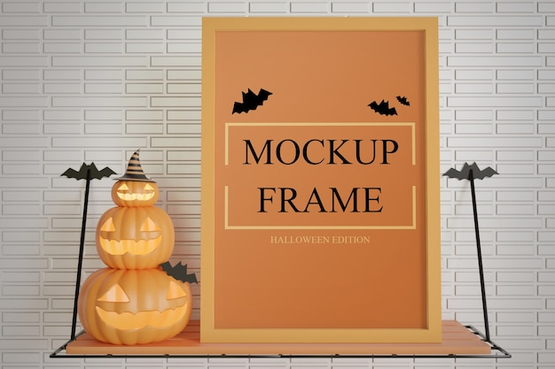 Close up halloween edition frame mockup on the wall table