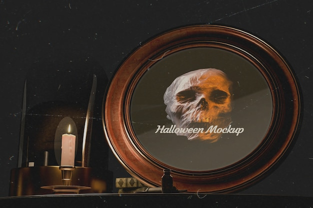 Close-up halloween round frame with skull