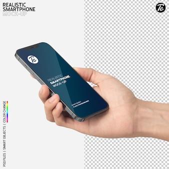 Close-up hand holding smartphone mockup