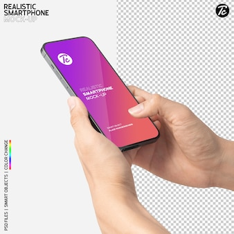 Close up on hand using smartphone mockup design