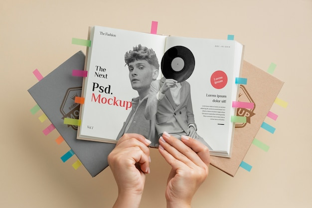 Close up hands holding book mockup
