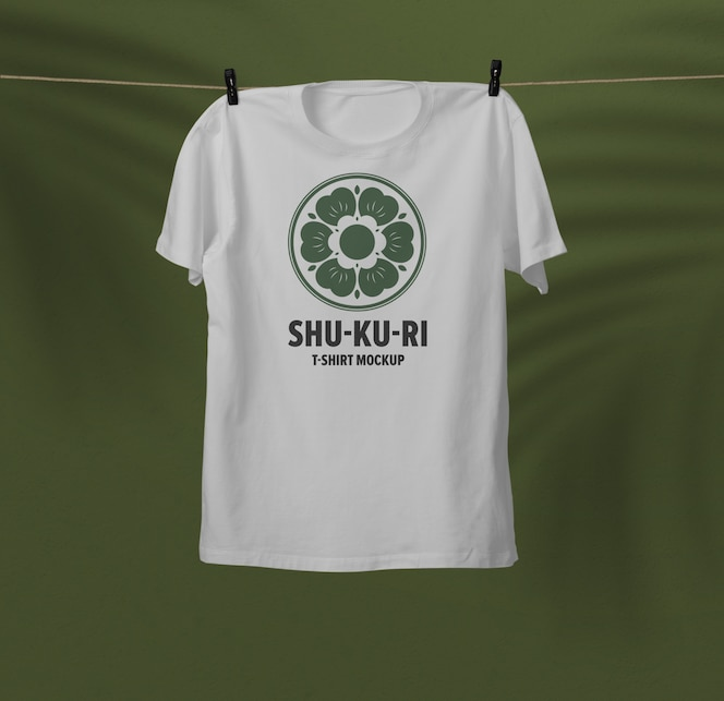 Close up on hanging t-shirt mockup