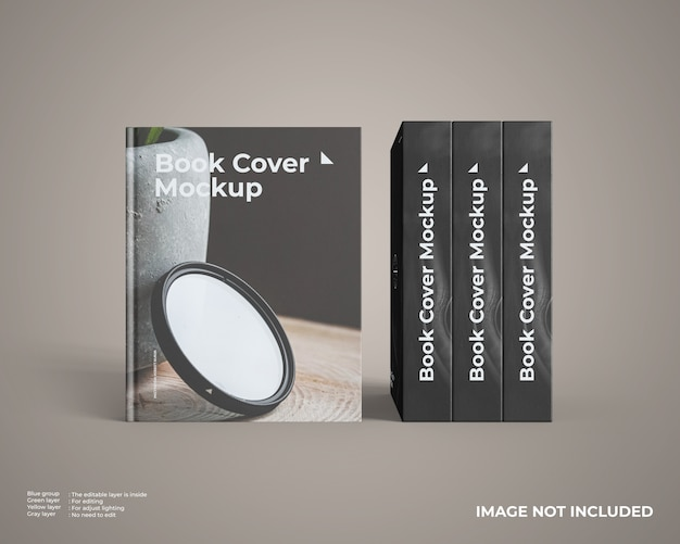 Close up on hardcover book mockup