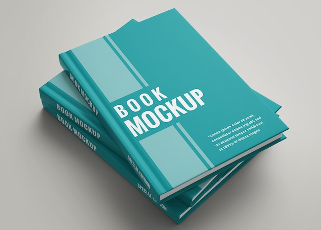 Close up on hardcover book set mockup