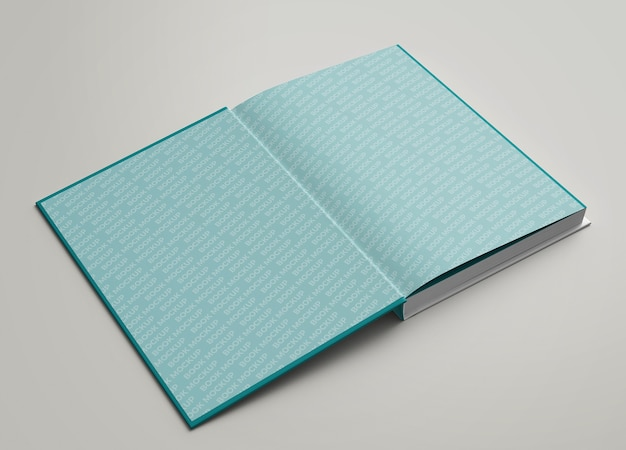 Close up on hardcover open view inside pages mockup