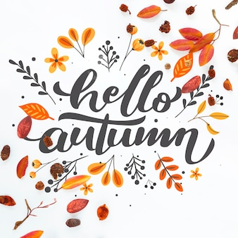Close-up hello autumn quote with dried leaves