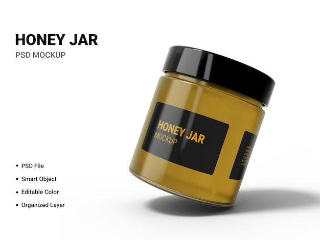 Close up on honey jar mockup isolated