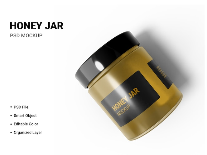 close up on honey jar mockup isolated