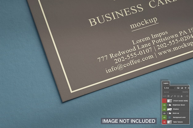Close-up of horizontal business card mockup