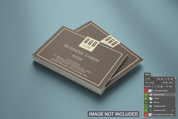 Close-up of horizontal business card stack mockup