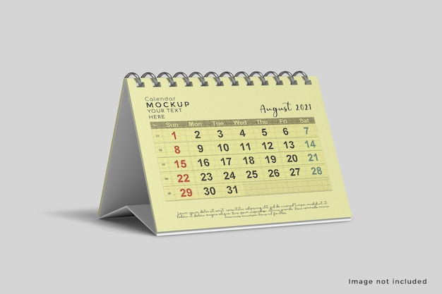 Close up on horizontal desk calendar mockup