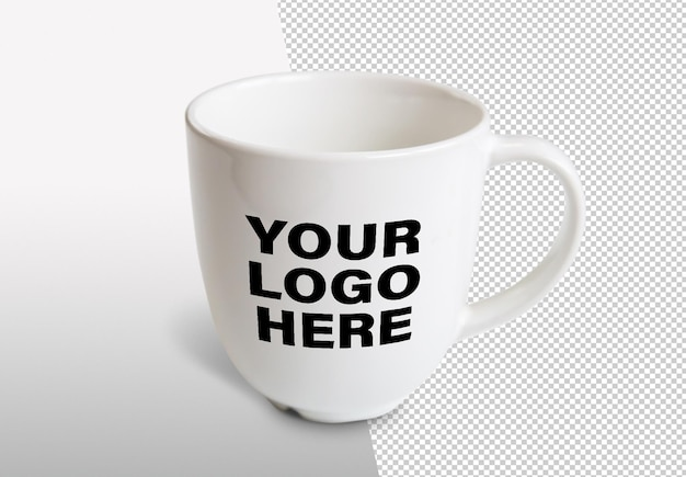 Close up on isolated mug mockup design