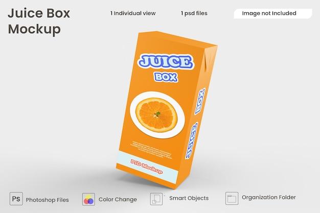 Close up on juice box mockup isolated