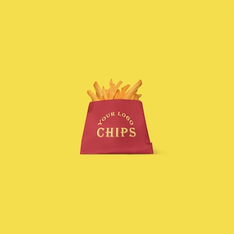 Close up on label mockup with french fries isolated
