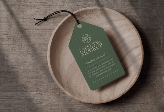 Close up on label tag mockup in a wooden bowl