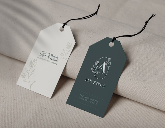 Close up on label tag mockup