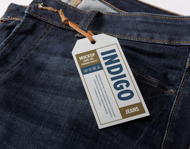 Close up on label tag mockup