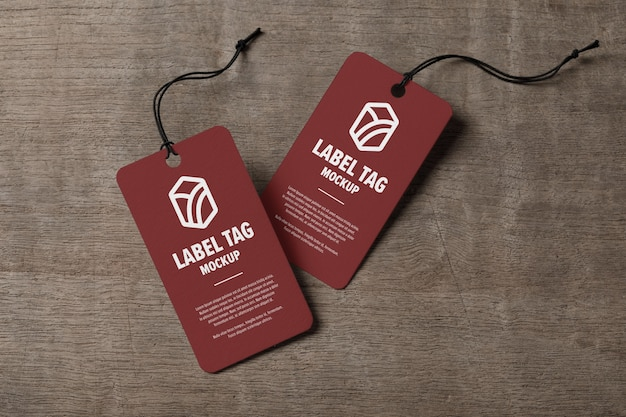 Close up on label tags mockup