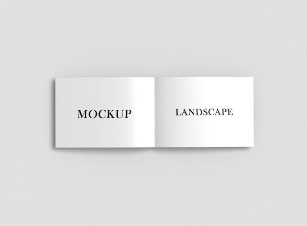 Close up on landscape brochure mockup mockup