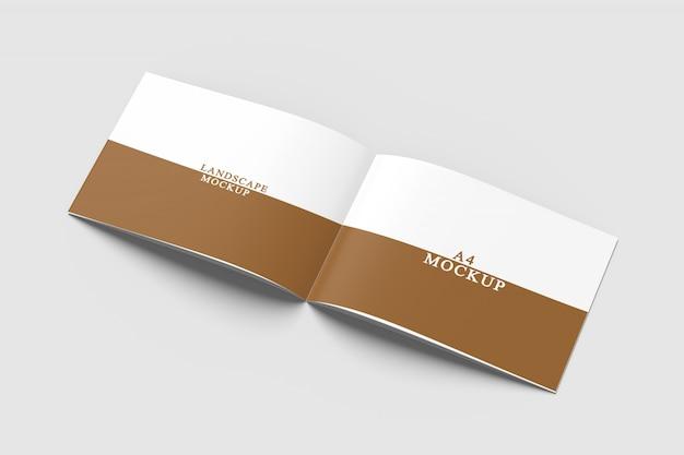 Close up on landscape brochure mockup