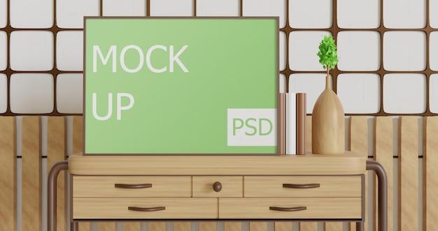 Крупным планом макет пейзажной рамки на деревянном столе