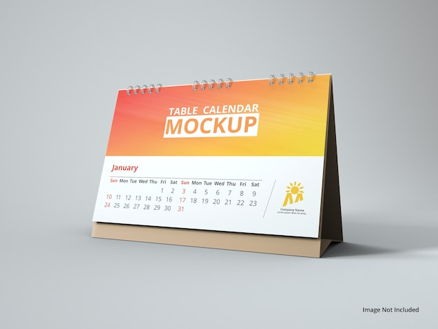 Close up on landscape table calendar mockup