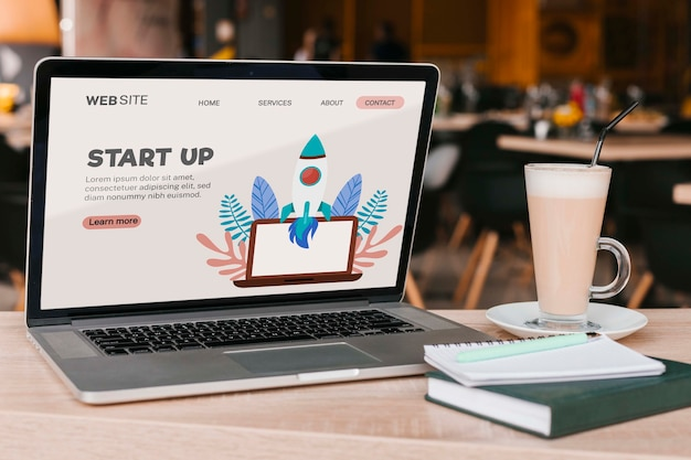 Close-up laptop with start up landing page