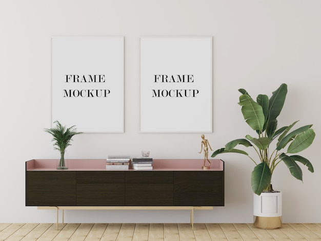 Close up on large picture frames mockup