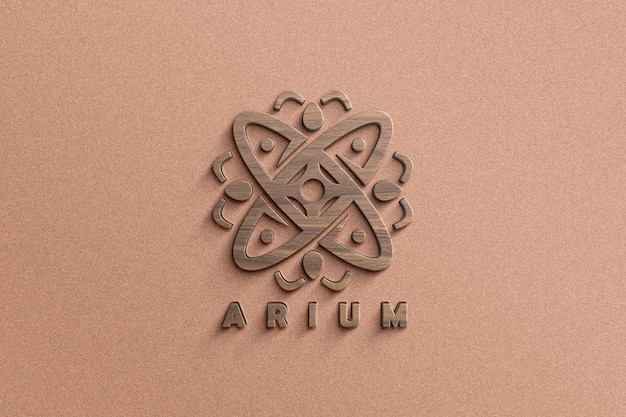 Close up on logo mockup in 3d wood texture