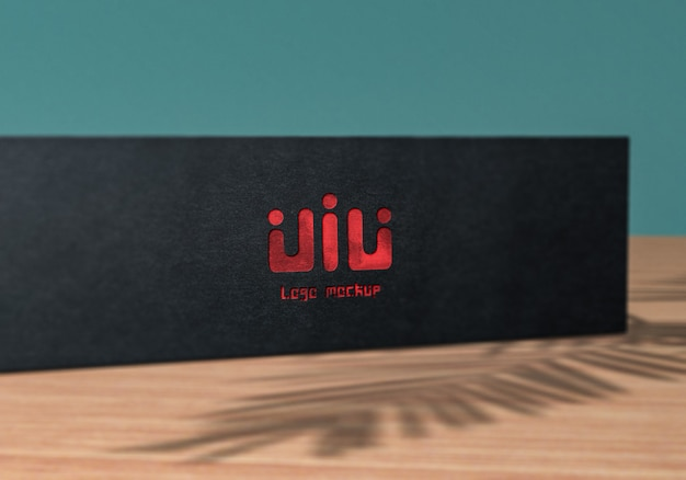 Close up on logo mockup on a black box