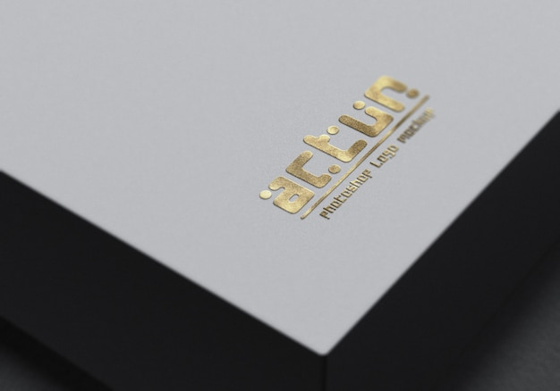 Close up on logo mockup closeup on a white box