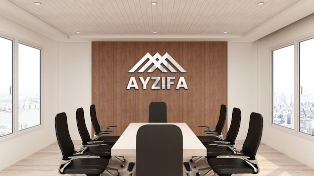 Close up on logo mockup office in meeting room with wooden interior design