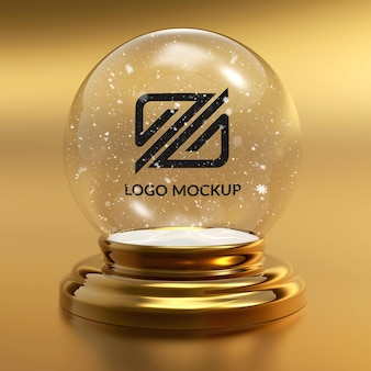 Close up on logo mockup snowball