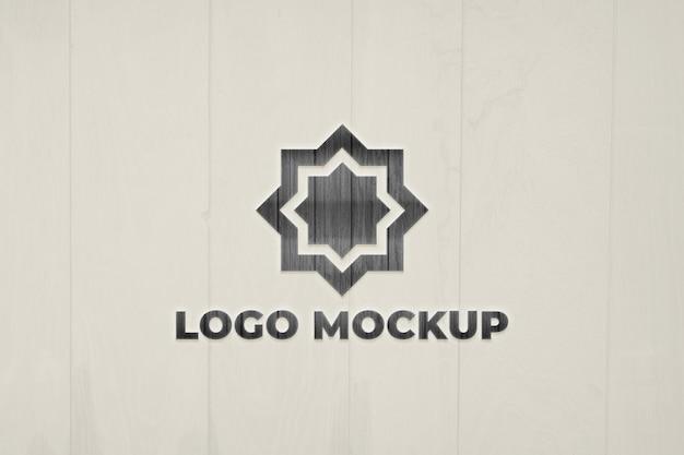 Close up on logo mockup on wall