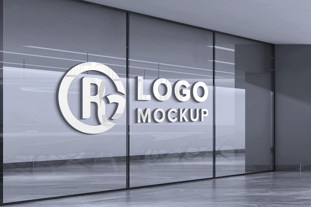 Close up on logo mockup on white glass wall