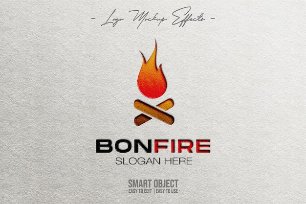 Close up on logo mockup with bonfire