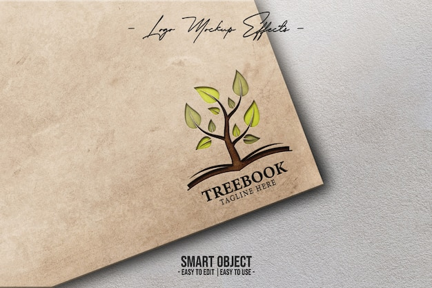 Close up on logo mockup with coverbook Premium Psd
