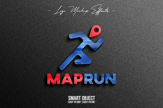 Close up on logo mockup with maprun