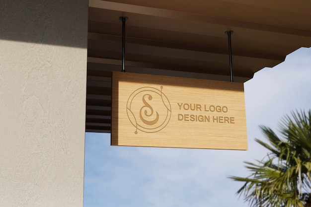 Close up on logo sign board mockup
