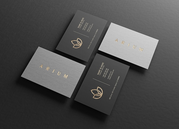 Close up on luxury business card mockup