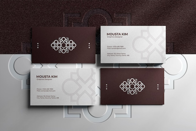 Close up on luxury business card with embossed logo mockup