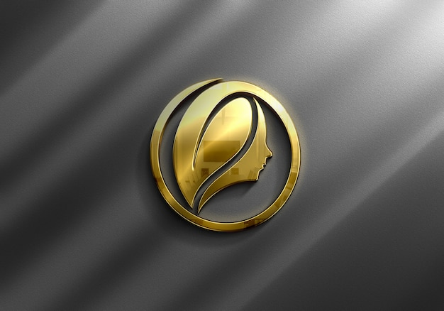 Close up on luxury gold logo mockup