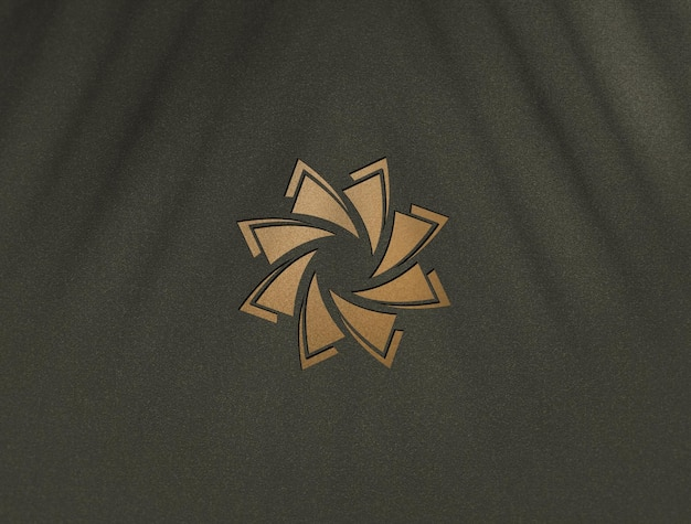 Close up on luxury golden logo mockup design