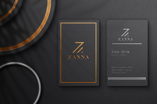 Close up on luxury vertical business card mockup